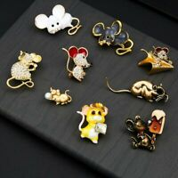 2020 Rat Zodiac Mouse Lovely Crystal Brooch Pin Women Costume Charm Jewelry Gift