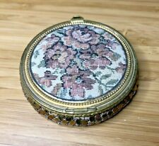 New ListingVintage Rex Fifth Avenue Petit Point Tapestry Mirror Compact Gold Sequin Bottom