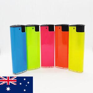 5 PACK TRIO Disposable Fluro JET Gas Lighter Windproof 8CM Pocket Sized Blue Lim