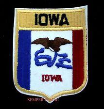 IOWA STATE FLAG EMBROIDERED IRON ON PATCH IA HAWKEYE HEARTLAND SHIELD USA WOW