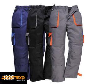Portwest Texo Contrast Trousers TX11 S-3XL Black, Navy, Grey