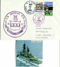 USS HORNE CG 30 DESTROYER CACHED NAVAL COVER & MAGAZINE PHOTOGRAPH