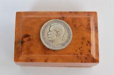 Imperial Russian karelian burch wood box Czar Nicholas II Silver coin lacquer