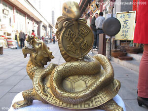 Chinese Brass Carved Dragon tortoise Play Money snake Lucky Black Warrior statue