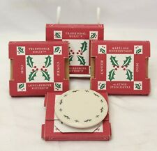"Longaberger Traditional Holly Mug Covers Coasters 3.5"" Lot of 4"