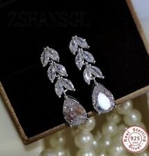 71539a786 Sparkling Elegant Crystal Cubic Zirconia Leaf Drop Earrings 925 Sterling  Silver