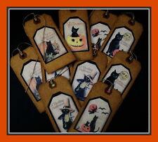 BLACK HALLOWEEN CATS AND PUMPKINS - VINTAGE POSTCARD PRIMITIVE HANG TAGS - TEN