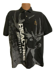 REAL TREE OUTFITTERS Mens Short Sleeve Black Polo Shirt Size LARGE Out Doors