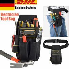 Schwarz Werkzeugtasche Handwerker Heimwerker Gürteltasche Arbeitstasche+Hüftgurt