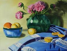 Peony 3, Flower, Lemon, Fruit, Original Watercolor Painting, Signed, Art Deco