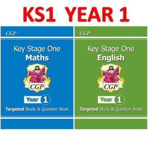 KS1 Year 1 Maths English Targeted Study Question Book with Answer CGP