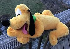 Disney Pluto Plush About 17 Inches Lying Down Tongue Out Green Collar