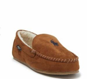 Polo Ralph Lauren Men's Polo Faux-Suede Shearling Tan Beige Moccasin Slippers