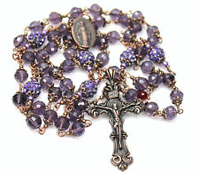 "Antique Copper Purple Czech Crystals 29 1/2"" Rosary,Rosenkranz,Rosario & fr Gift"