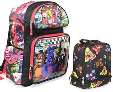 """Five Nights At Freddy's 16"""" Backpack with 9.5"""" Insulated Black Lunch Bag 