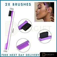 2 Piece Edge Double Sided Comb Hair Control Brush Gel Smooth Natural Colors UK