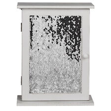 6 Key White Wooden Holder Storage Box with Sequins Wall Decor Hanging Keys Hooks