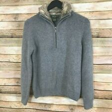 Eddie Bauer Womens 1/4 Zip Angora Fur Collar Gray Pullover Sweater Size Small
