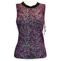 Rachel Rachel Roy Womens Purple Crisscross Back Sleeveless Knit Top Sz XS