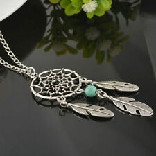 Dream catcher Mystical silver tone with turquoise stone & feather Necklace