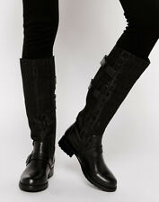 Womens DKNY Black Naria Logo Leather BOOTS Knee-high Buckle Pull on UK 4.5