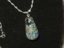 OPAL PENDANT  FIERY AUSTRALIAN OPALS FLOATING OPAL PENDANT NECKLACE  925