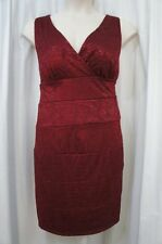 Xscape Woman Dress Sz 16W Garnet Red Floral Laced Sleeveless Cocktail Party