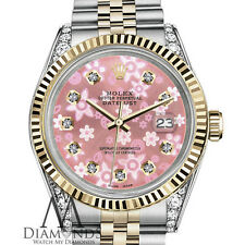 Women's Rolex 26mm Datejust 2 Tone Glossy Peach Flower Dial with Diamond Accent