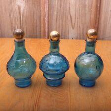 3 Vintage Blue Bottle With Corks Eagle Holly Window