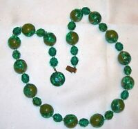 "Unusual Vintage 23"" Beautiful Austria Deco Style Green Lucite Bead Necklace L395"