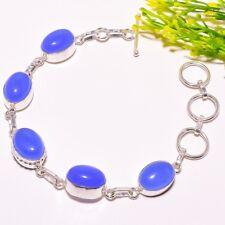 "Fashion Jewelry Bracelet 7-8"" Sb-652 Blue Chalcedony Gemstone Handmade Ethnic"