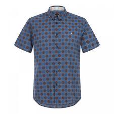 Mens Merc London Retro Mod Pattern Short Sleeve Shirt Caspian - Navy Blue