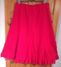 M&S Autograph red frayed floral ruffle long linen skirt UK 16