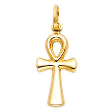 "Real 14k Yellow Gold Ank Cross Crucifix Jesus Pendant Charm + Free 20"" Chain"