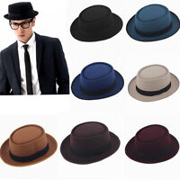 6c9fdfffc9f Men Women Hard Felt Pork Pie Cap Fedora Bowler Hat Derby Homburg Hats Band