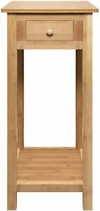 Hygrad Bamboo Tall Side Bedroom Living Room End Table with drawer & lower shelf