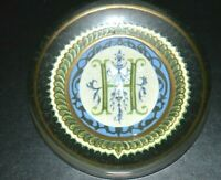 VINTAGE / ANTIQUE GLASS PAPERWEIGHT WITH MONOGRAM H