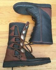 HANDMADE BUFFALO SKIN LEATHER MOCCASIN COIN BUTTON BOOTS 8 RENAISSANCE MEDIEVAL
