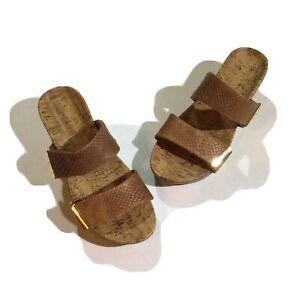 Vionic Womens Size 9 Slide Adjustable Platform Wedges  Comfort Sandals In Nude