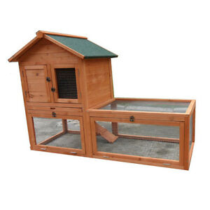 LARGE 147*65*100cm  Double Story Rabbit Hutch Guinea Pig Cage with RUN P033