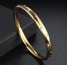 Damen Edelstahl Armreif Armband IP Gold Zirkonia Weiß Armschmuck Schwer