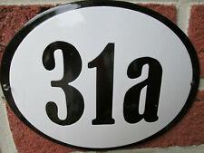 Hausnummer Oval Emaille schwarze Zahl Nr. 31a  weißer Hintergrund 19 cm x 15 cm
