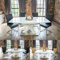 Lyra High Gloss Extendable Dining Set with a Choice of 4 or 6 Luxury Chairs