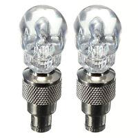 1 paar Schädel Ventilkappen LED Licht Rad Reifen Lampe Auto Motorrad Fahrrad