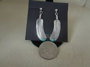 Super Nice  Post Ear Rings  .925 Sterling  With Turquoise By Louise Joe - RB