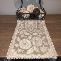 "Vintage Antique Delicate  Ecru Lace Table Runner 37""x13"" Crocheted Edges Granny"
