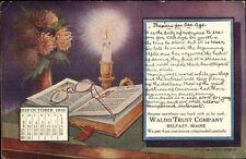 Belfast ME Waldo Trust Co Bank Advertising October 1910 Calendar Postcard