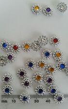 62 flower diamonte silver Craft art sewing stitch plastic rhinestones clothing