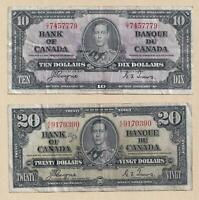 1937 $10 and $20 Bank of Canada Notes Coyne Towers