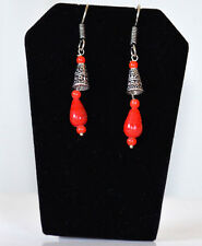 Silver Metal Red Stone Hook Tear drop Earrings Fashion Jewelry from India